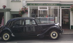 Vintage car outside Aune Valley Meat